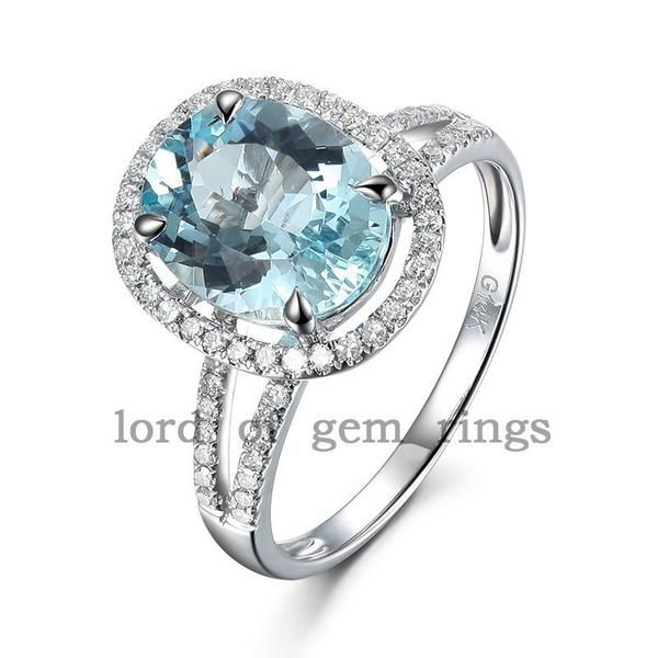 $639 Shop For Oval Aquamarine Engagement Ring Pave Diamond