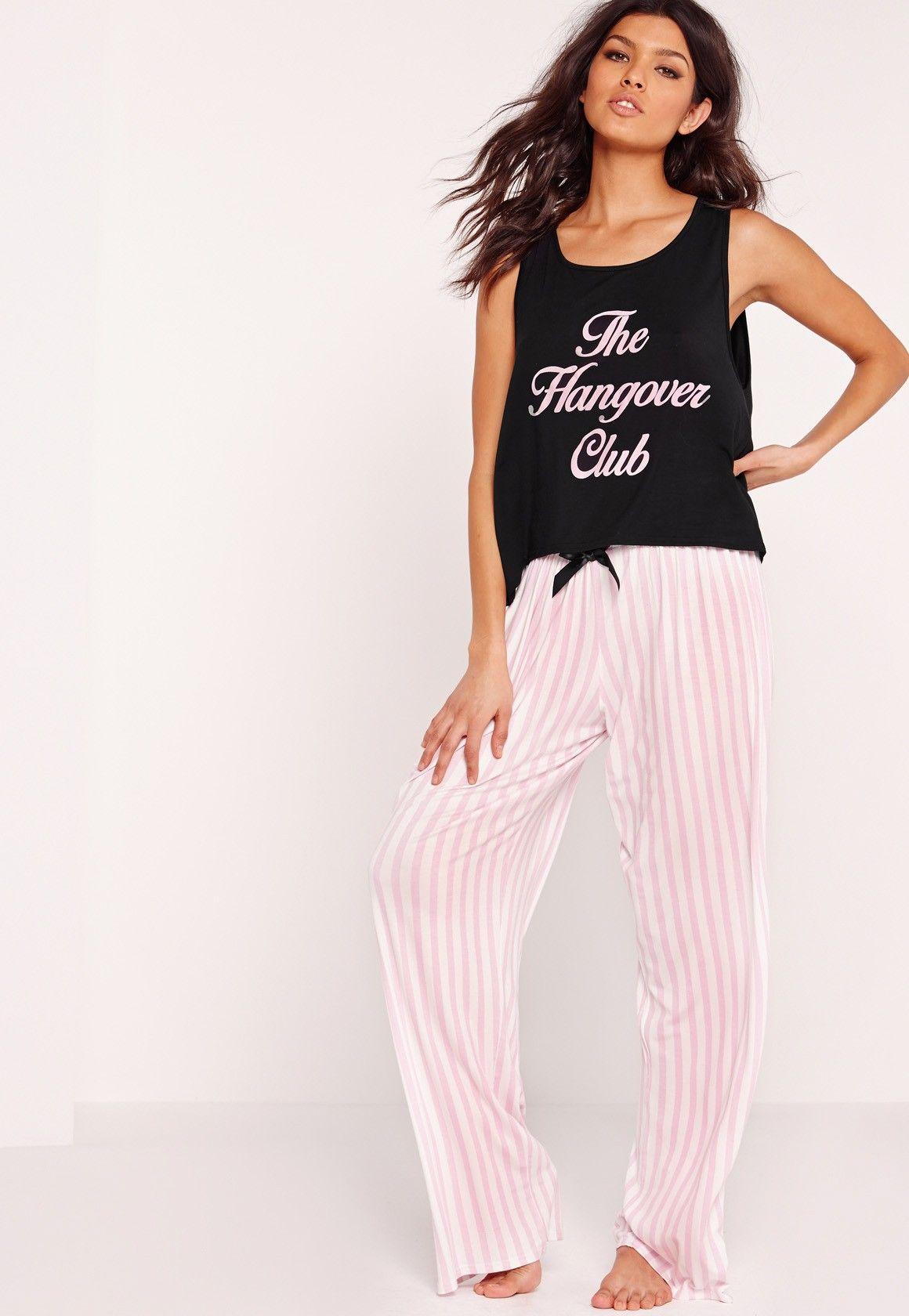 adf23891d5 Missguided - Black The Hangover Club Pajama Set | Pj | Sleepwear ...