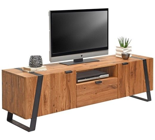 TV-ELEMENT Wildeiche massiv Eichefarben, Schwarz TVs, Tv units and
