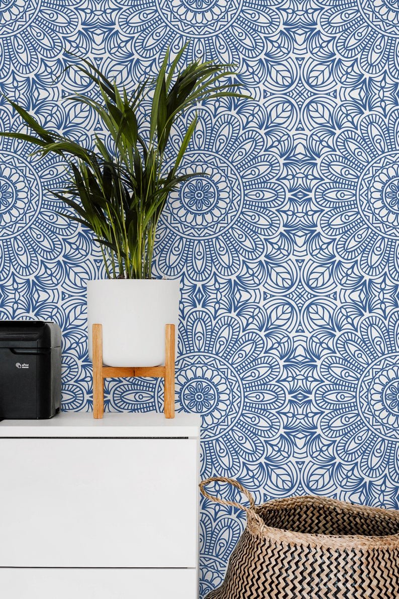 Moroccan Style Removable Wallpaper Blue Moroccan Tile Peel Etsy Removable Wallpaper Bedroom Moroccan Wallpaper Blue Moroccan Tile