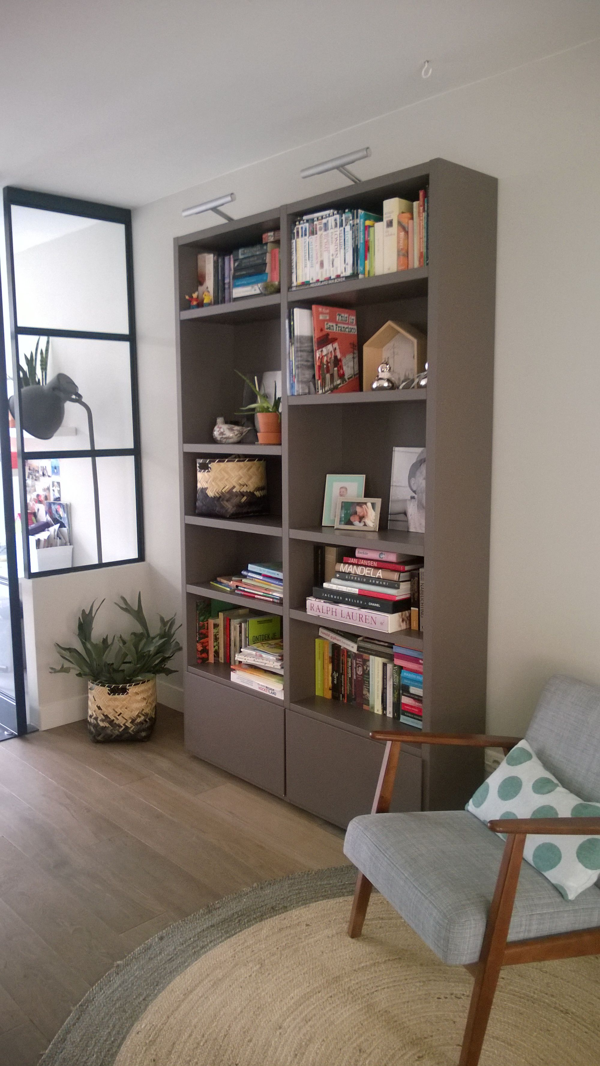 Poliform wall system, Boekenkast, Bookshelf, reading nook, stalen ...