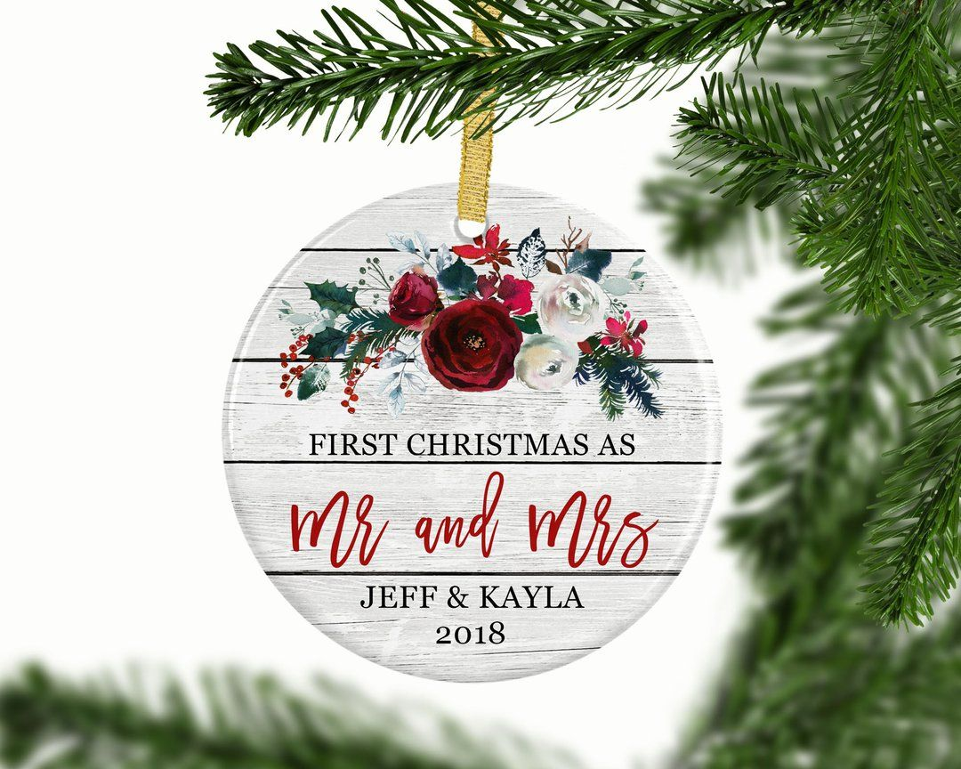 Personalized First Christmas As Mr And Mrs Ornament With Images Wedding Gifts For Newlyweds Custom Wedding Gifts Wedding Gift Items