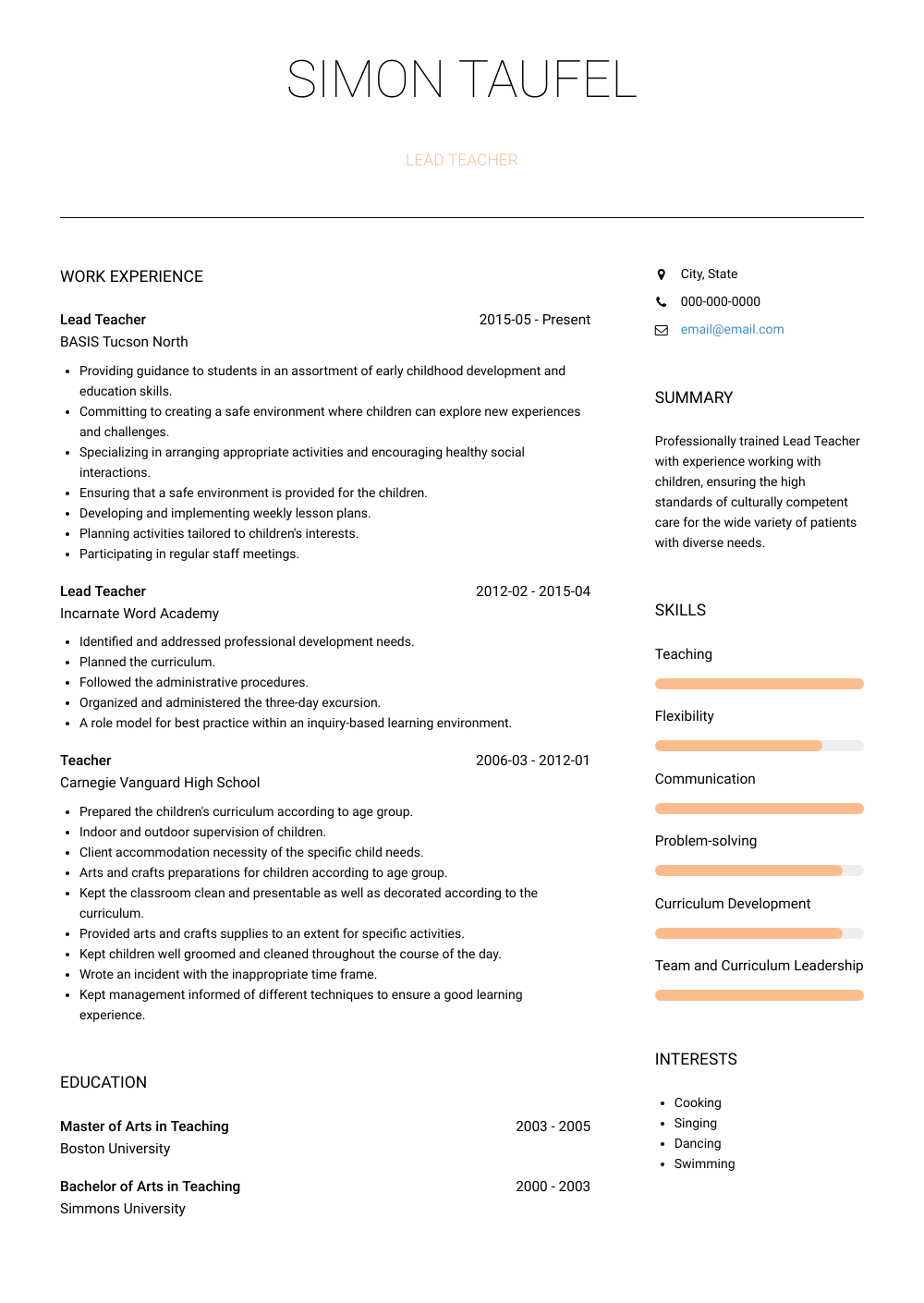 Teacher Resume Samples and Templates VisualCV in 2020