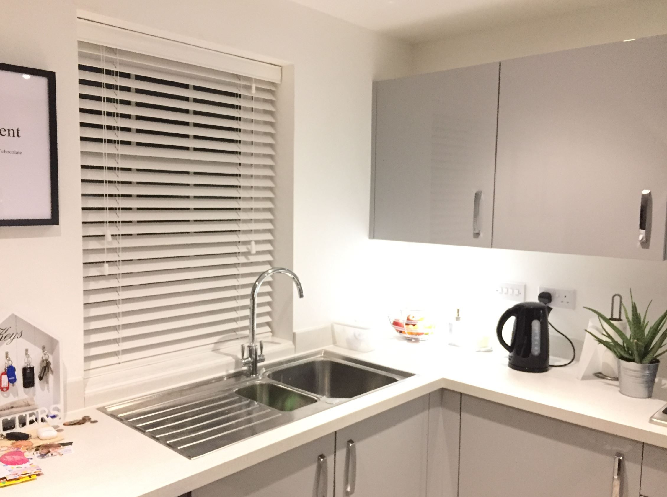 Pure white wood venetian blinds in a customers kitchen ... on white granite for kitchens, white cabinets for kitchens, white curtains for kitchens, white paint for kitchens, white furniture for kitchens, white ceramic tile for kitchens,