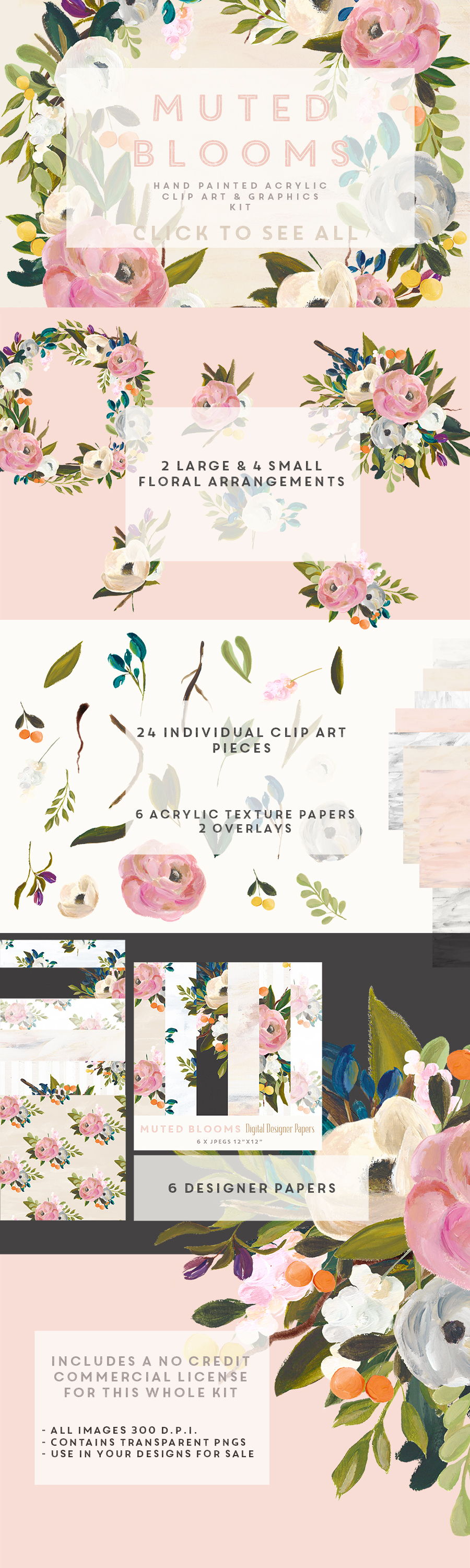 hand painted floral clipart and graphics [ 900 x 3000 Pixel ]