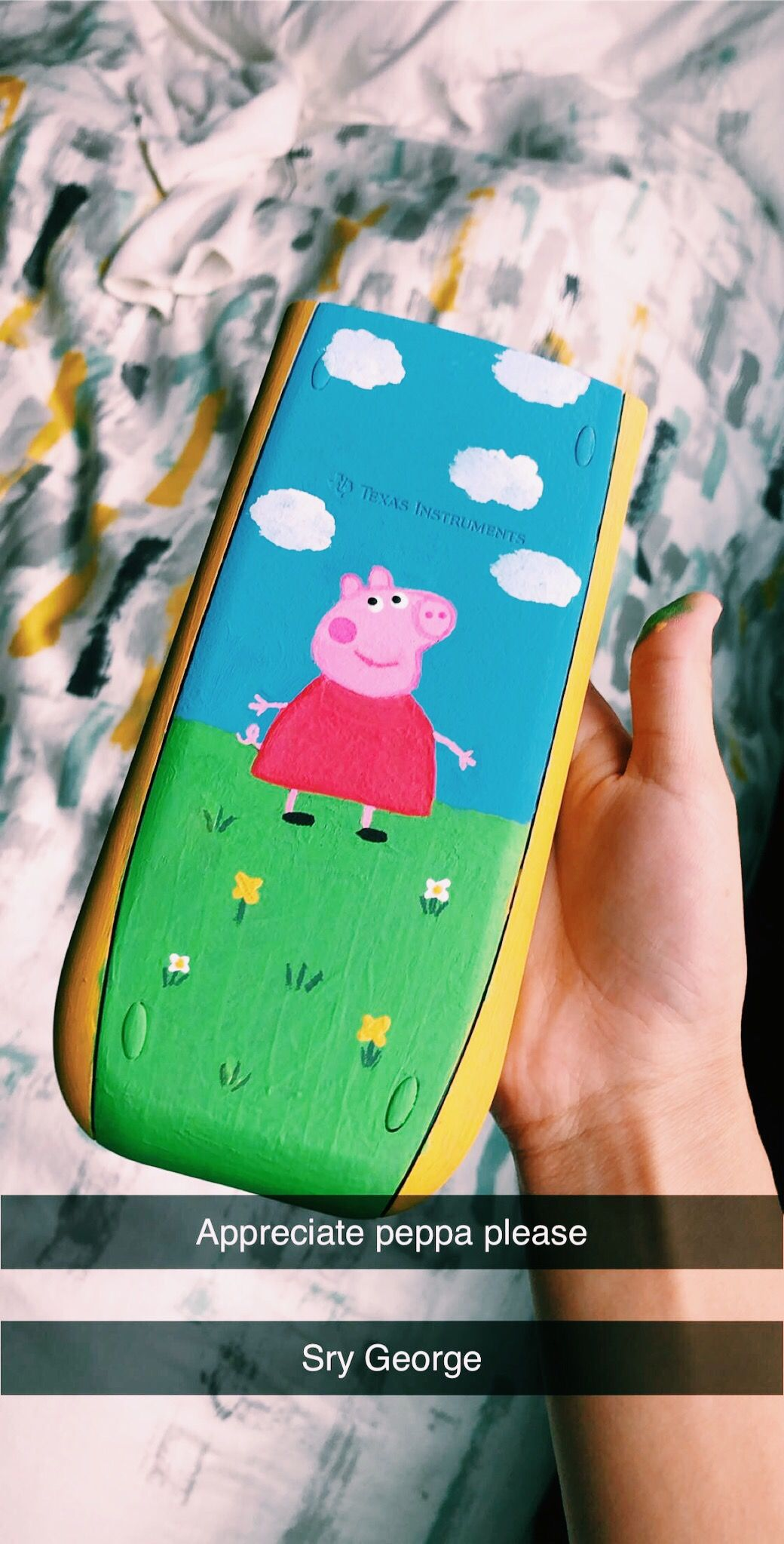 Calculator Painting Mini Canvas Art Peppa Pig Painting Pig Painting