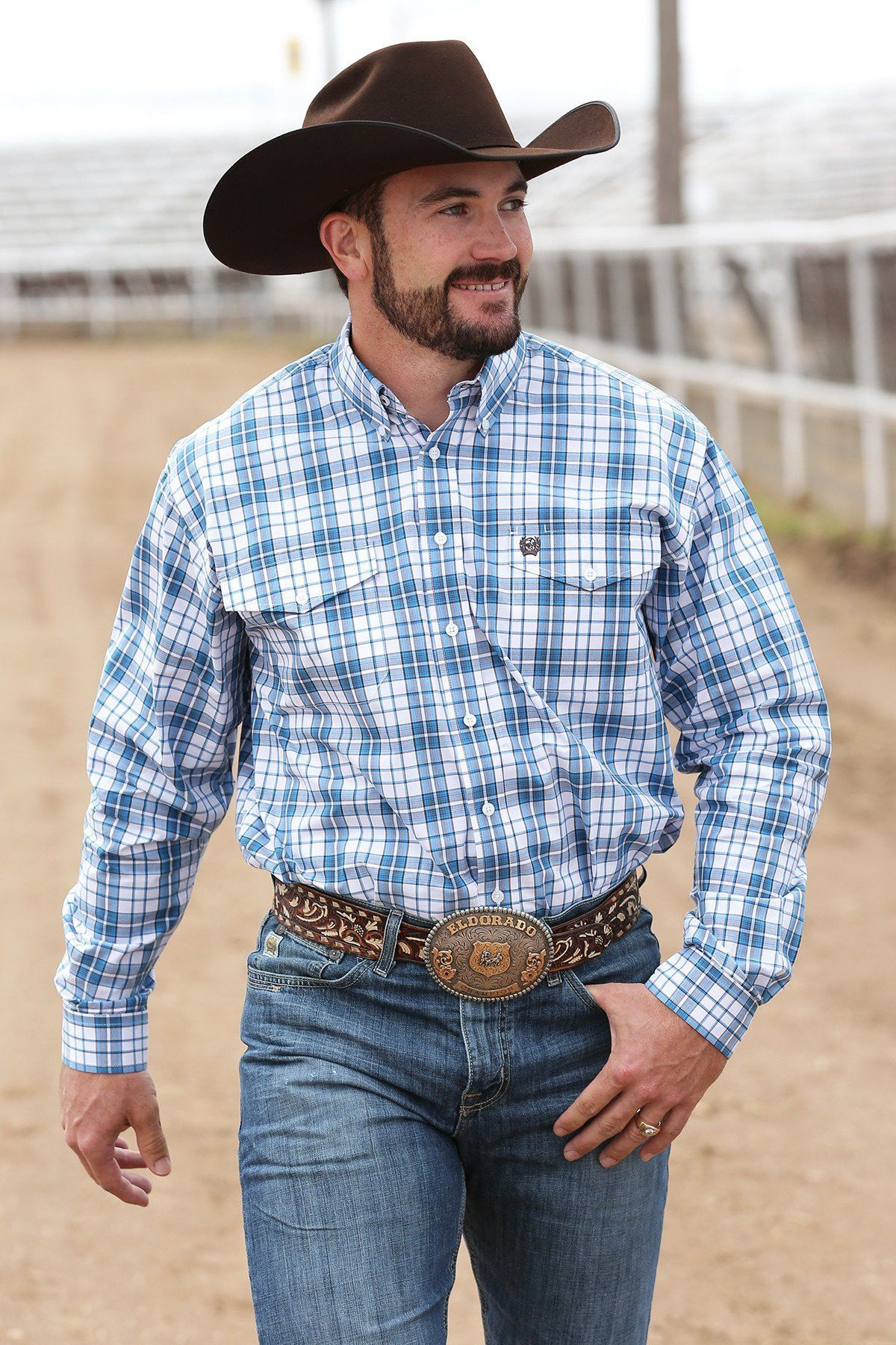 Cinch Men's White & Blue Plaid Long Sleeve Button Down