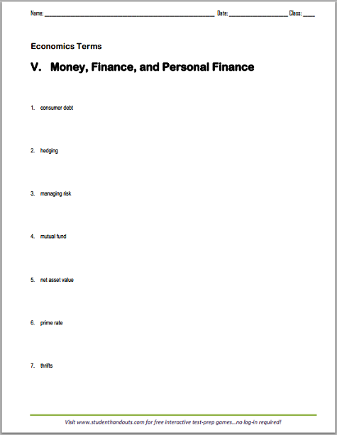 money and personal finance vocabulary terms worksheet free to