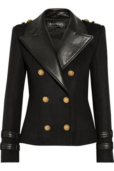 Balmain | Leather-trimmed wool and cashmere-blend jacket