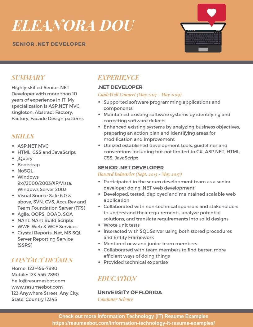 Senior Net Developer Resume Samples Templates Pdf Doc 2020 Senior Net Developer Resumes Bot Resume Template Examples Free Resume Examples Resume Examples