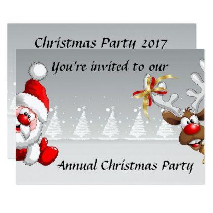 Christmas party invite with cartoon santa reindeer - christmas cards