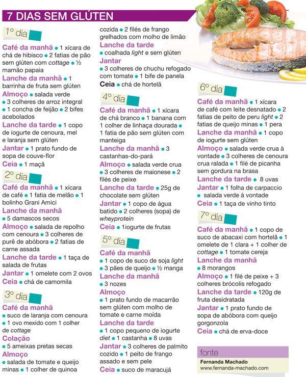 dieta gluten free cardapios