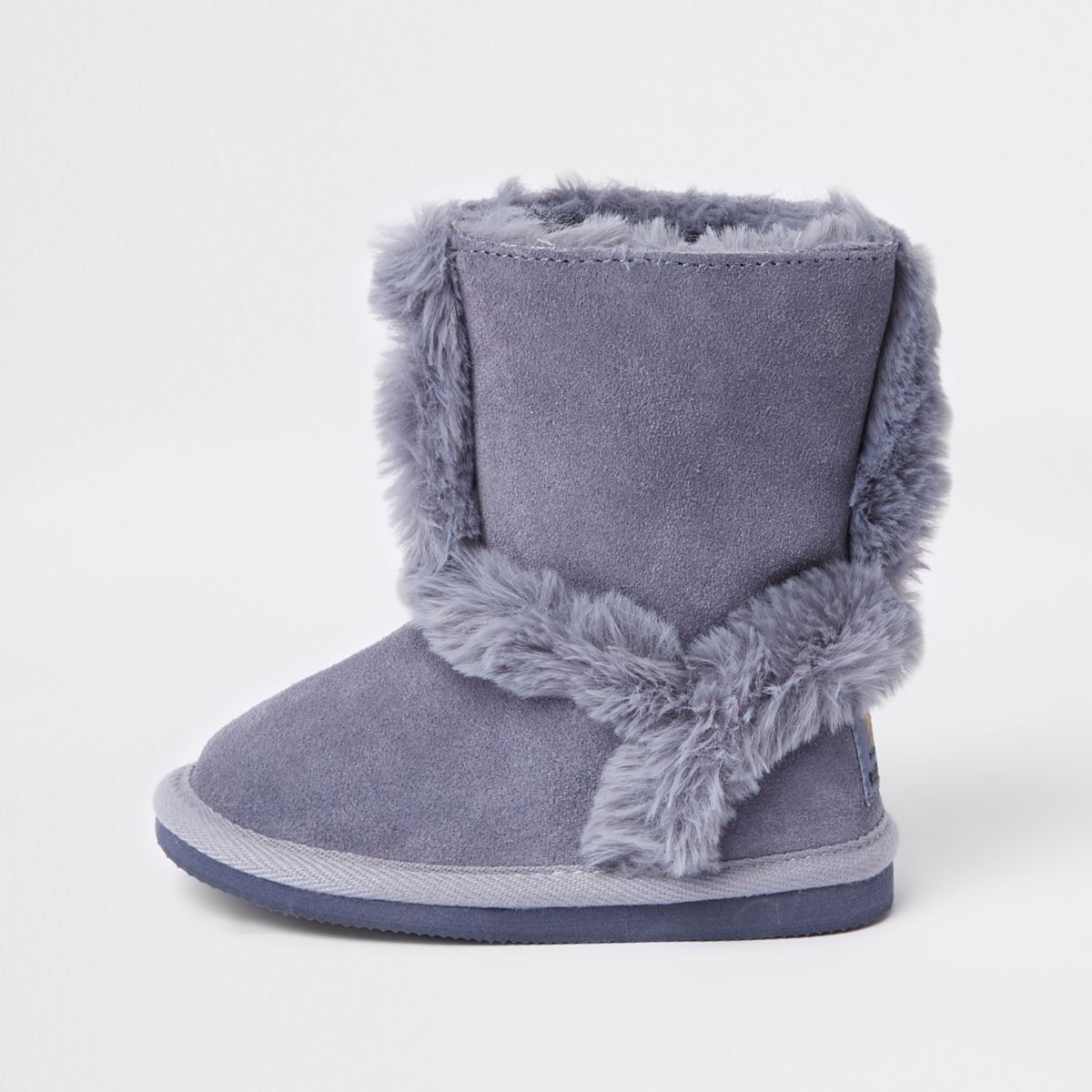 Mini girls pink suede fur lined ankle boots | Baby girl