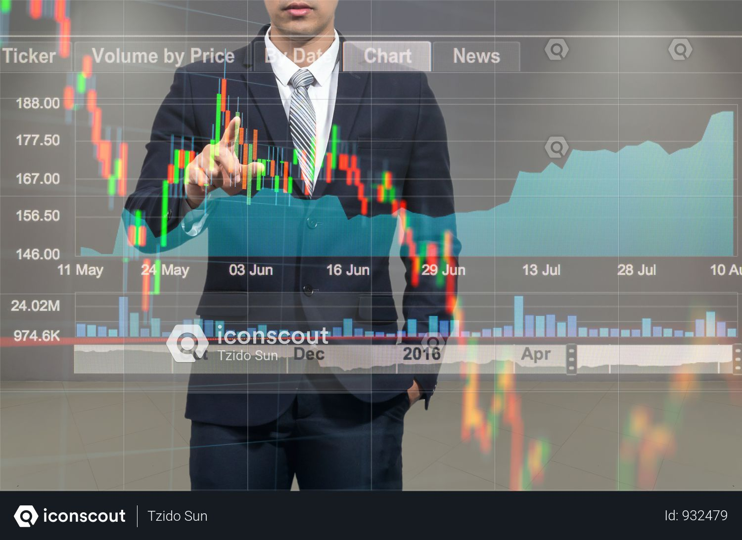 Premium Businessman Pointing The Stock Graph With Stock Market
