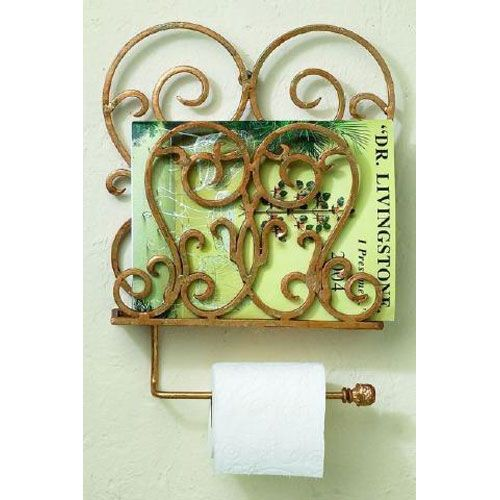 Italian Gold Iron Wall Mount Magazine Rack With Tissue Rod Dr - dr livingstone i presume accessories