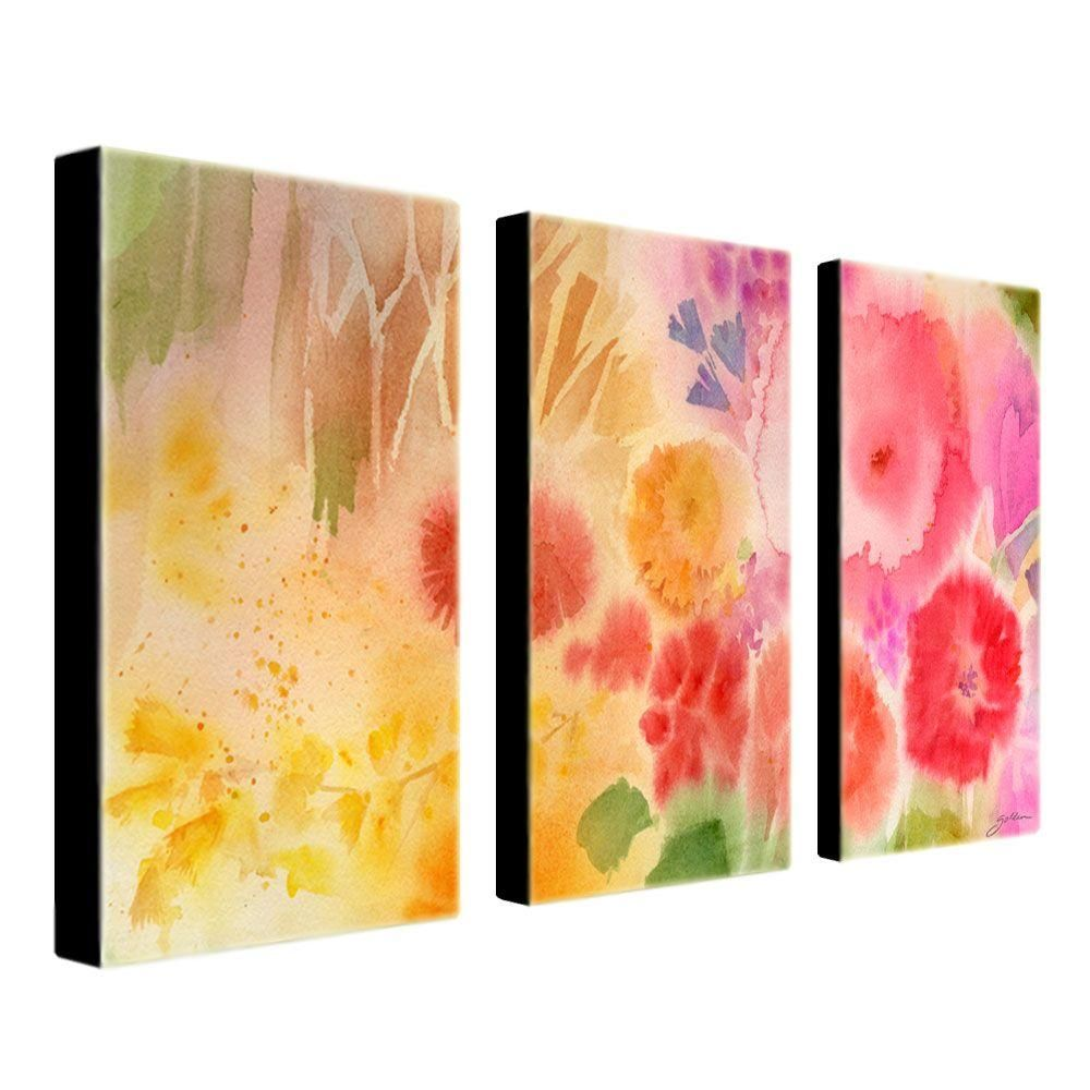 16 in. x 32 in. Wood Flower 3-Piece Canvas Art Set | Products ...