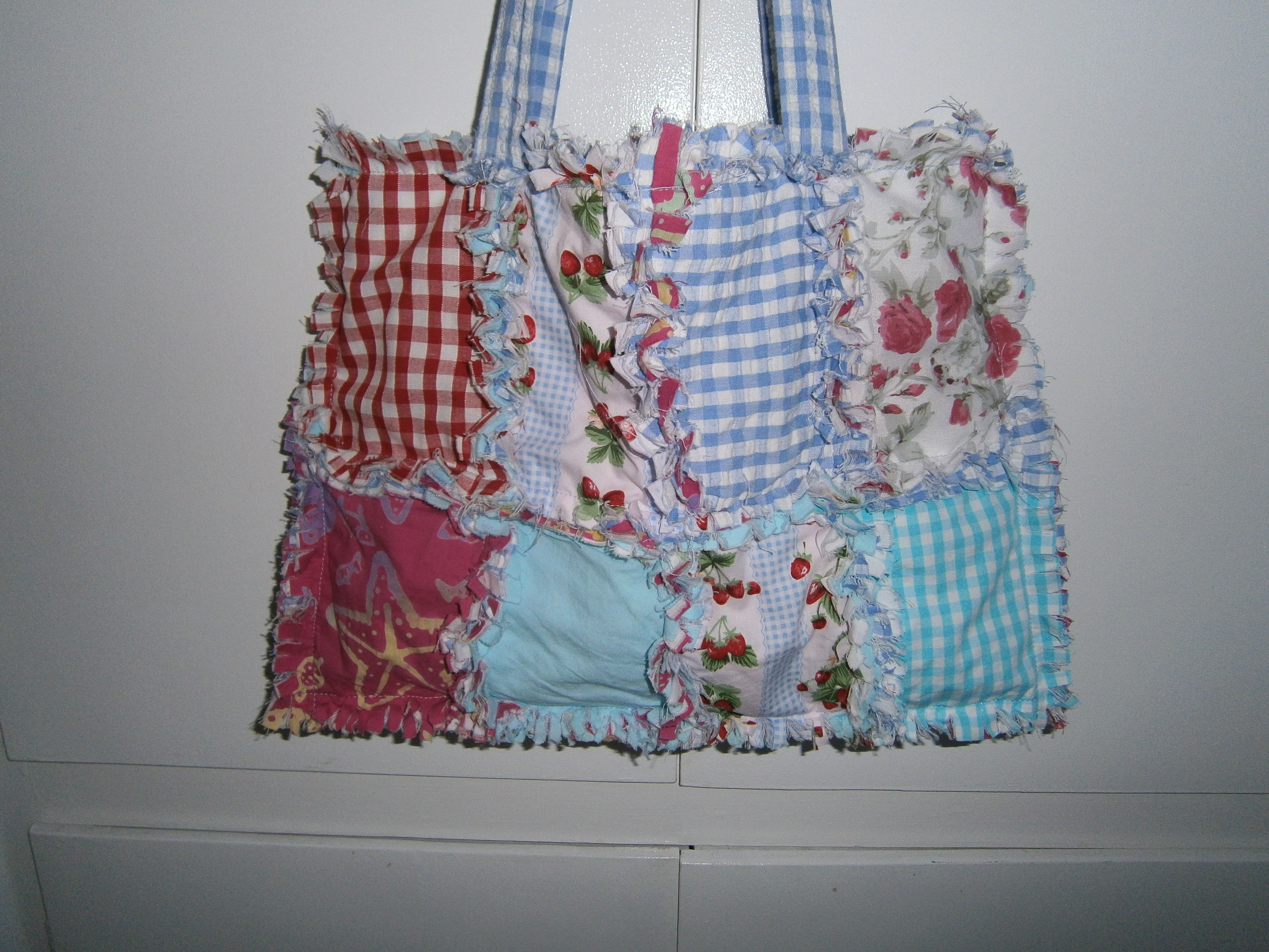 A bag using a rag quilt method to give a shabby look.