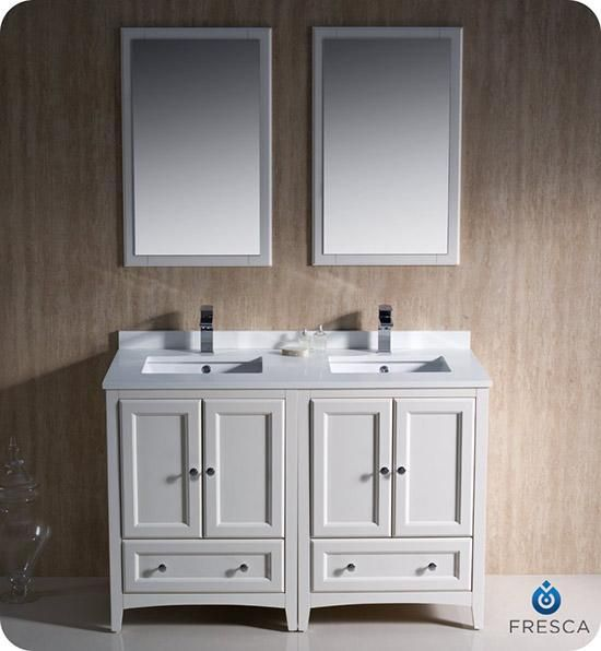 We Could Also Do 2 24 Inch Single Vanities Custom Top Makes It Look Like One Piece Fresca Oxfor Traditional Bathroom Vanity Double Sink Vanity Bathroom Vanity