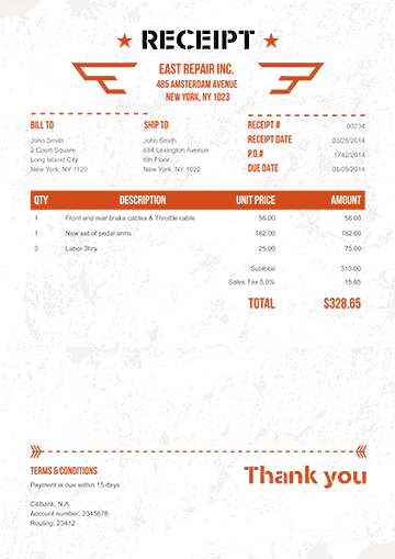 Military Orange No Logo Receipt Template PESAMONI - Sending invoice email template