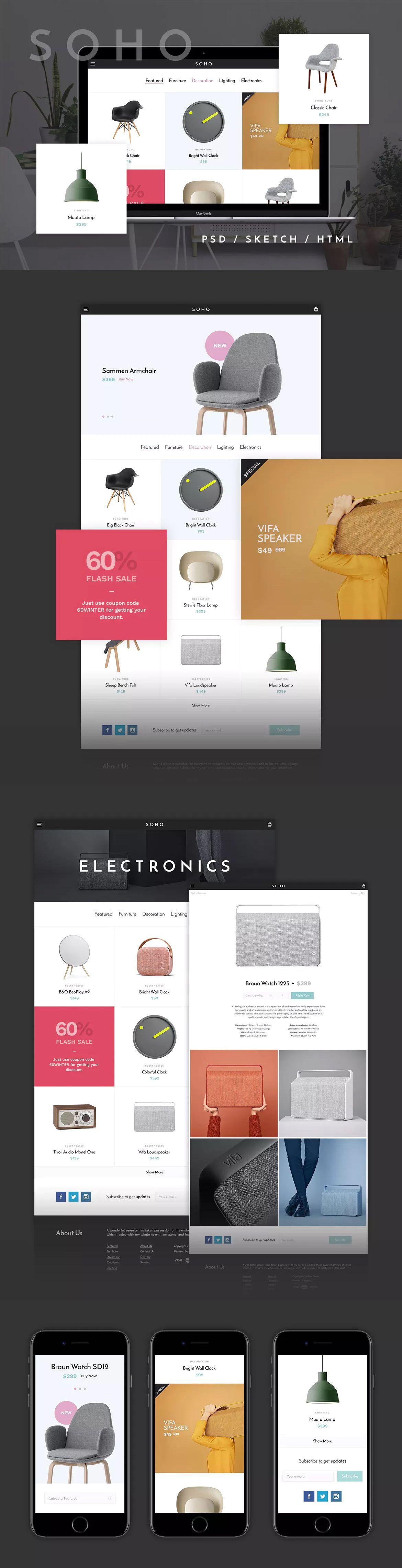 Soho Template (PSD, Sketch, HTML) | HTML Website Templates ...