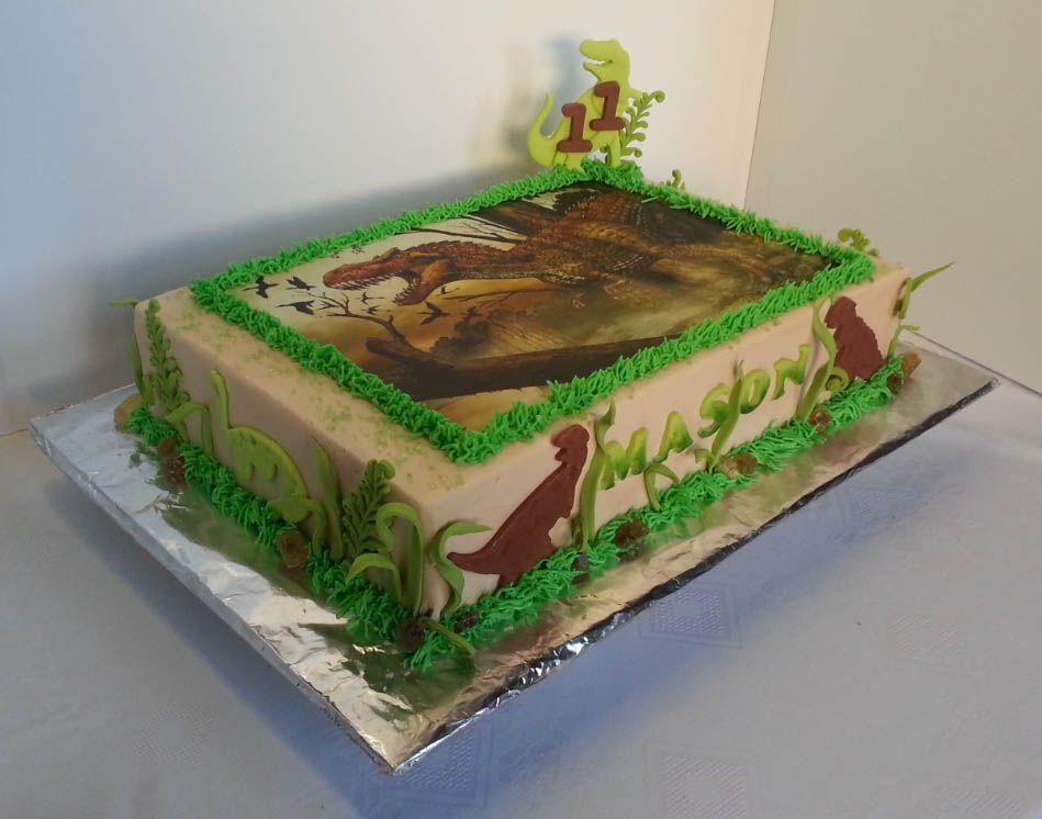 Dinosaur Themed Birthday Sheet Cake In 2019 Dinosaur