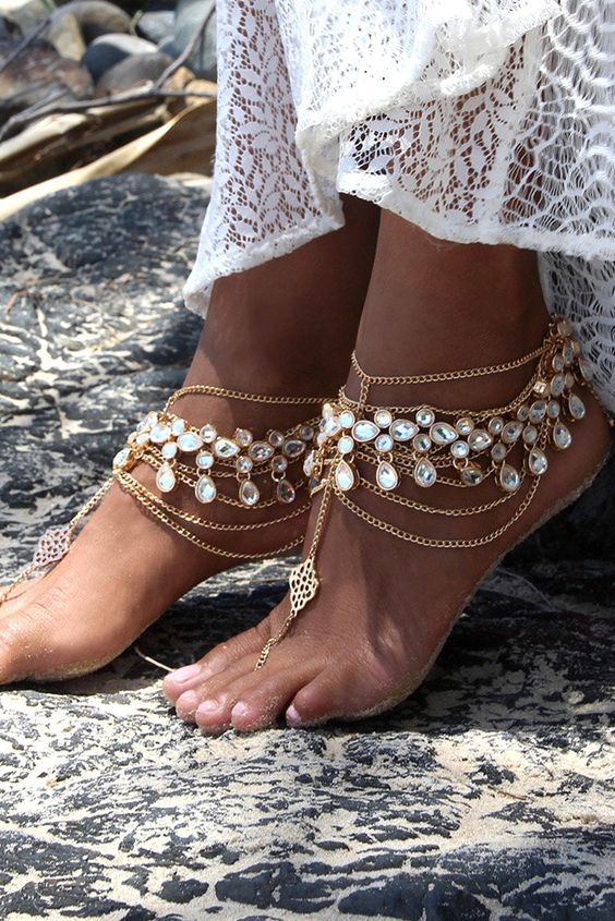 33 Super Chic Beach Wedding Shoes Wedding Forward Wedding Sandals Foot Jewelry Bare Foot Sandals