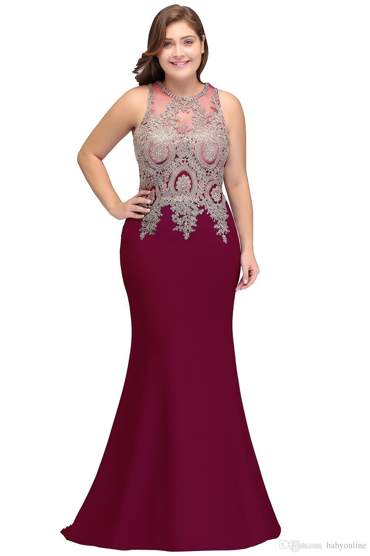 New elegant mermaid evening dress plus size long mother dresses robe