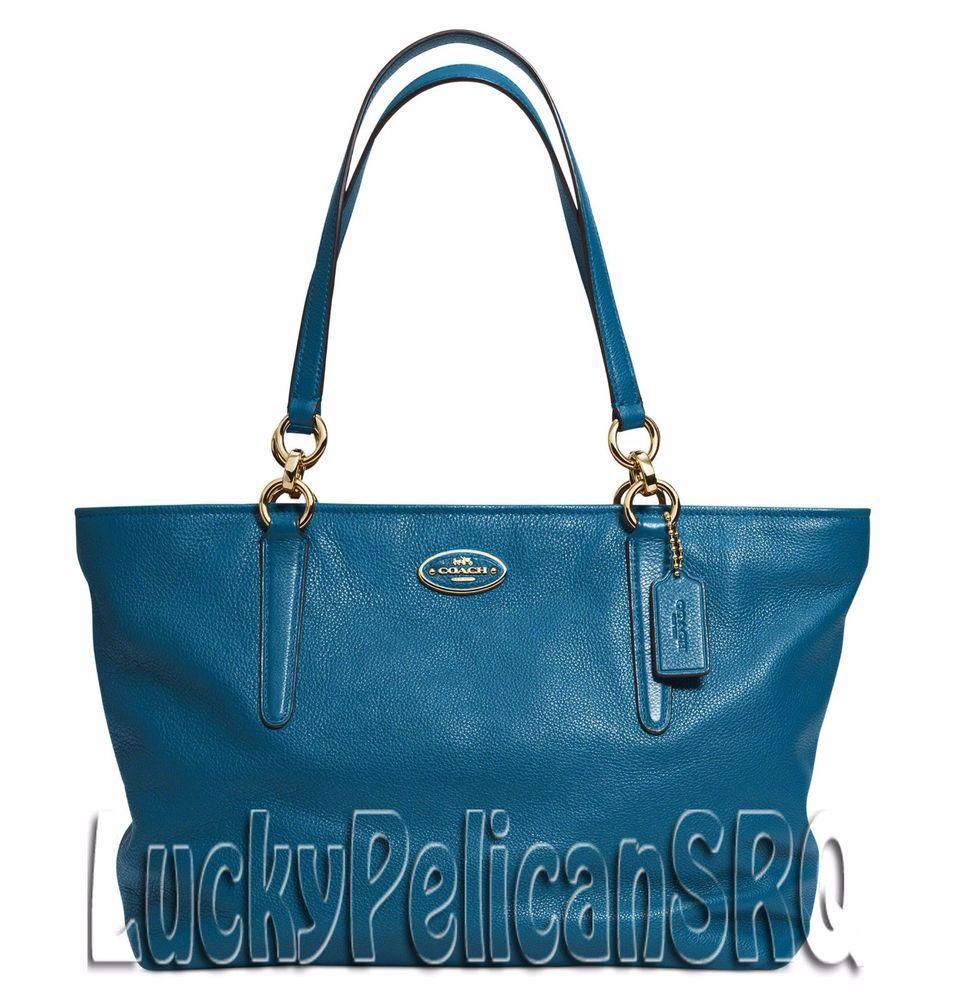 COACH 33961 ELLIS TOTE BAG HANDBAG LEATHER DENIM BLUE NWT