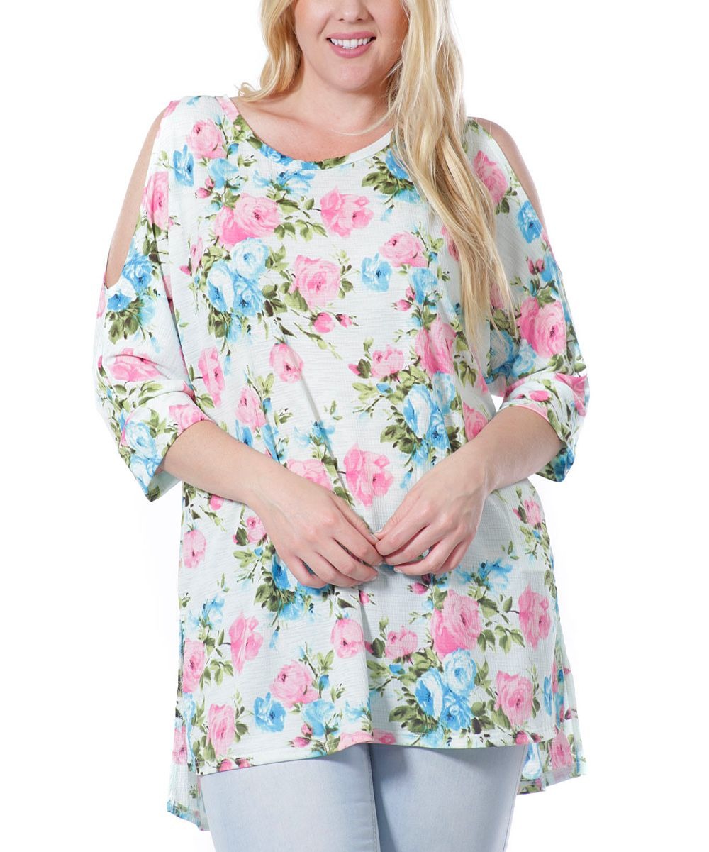 Ivory & Pink Floral Cold Shoulder Tunic - Plus