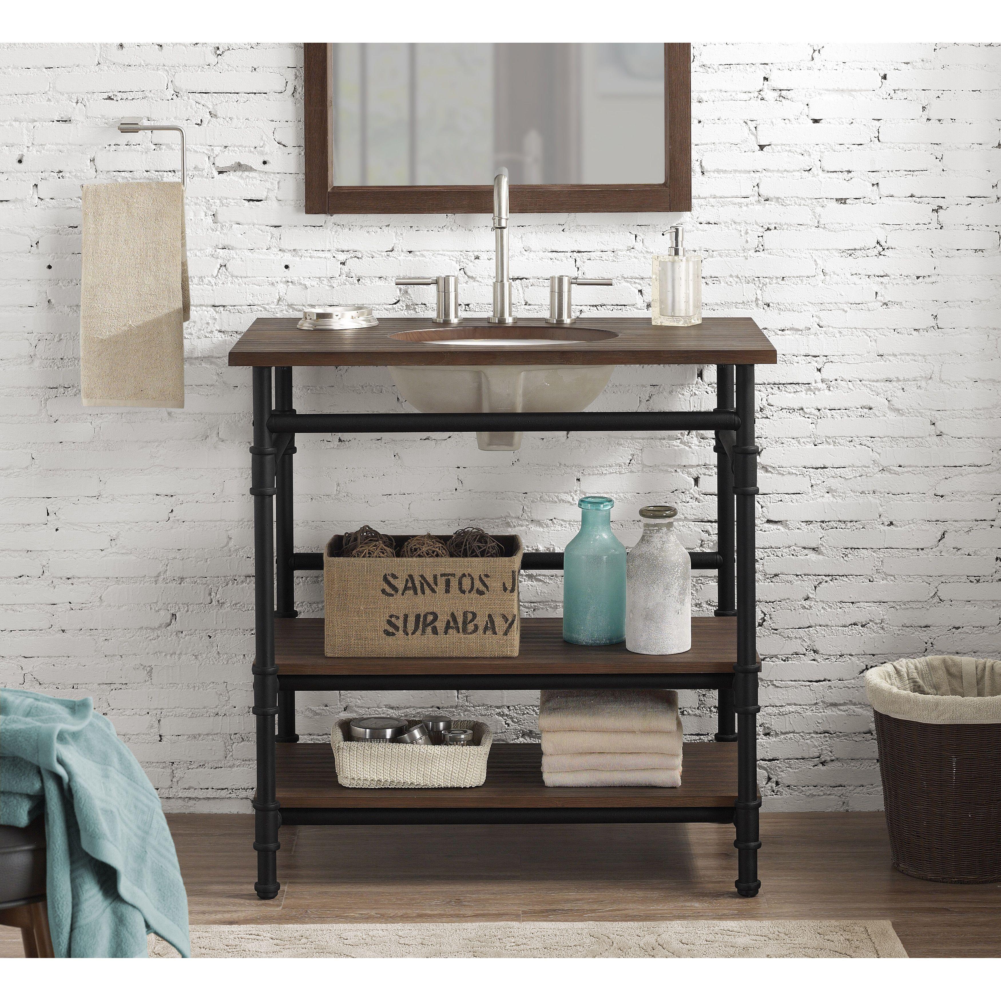 36 Inch Industrial Open Shelf Vanity   Overstock.com Shopping   The Best  Deals