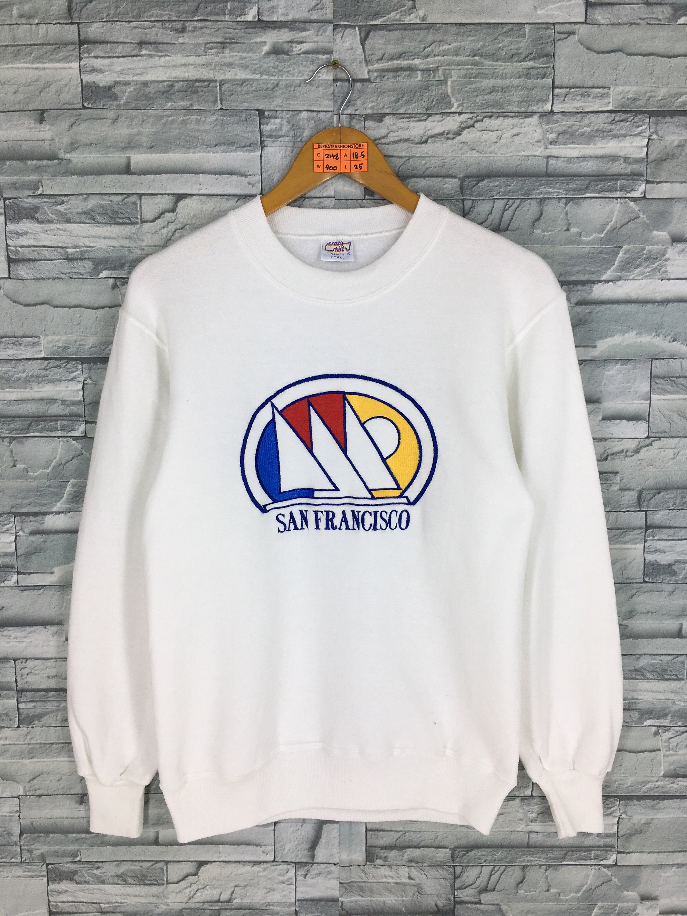 Excited To Share This Item From My Etsy Shop Vintage 90 S Crazy Shirts Yatch Sweatshirt Small Jumper San Francisco Embroidery Yatch Club Sailing Sport White P