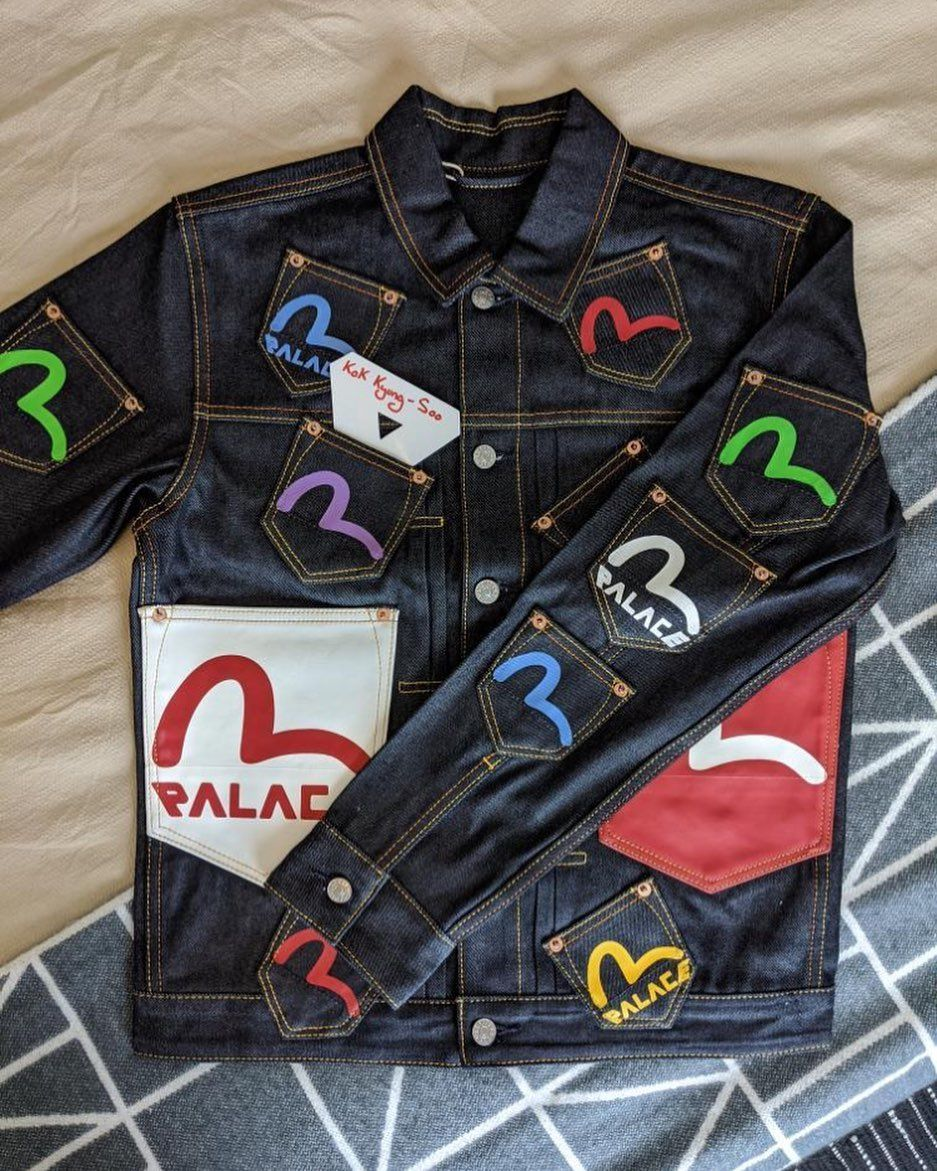 Maxmerch S Instagram Photo Palace X Evisu Denim Jacket Jean Jacket Design Jackets Evisu Jeans [ 1171 x 937 Pixel ]