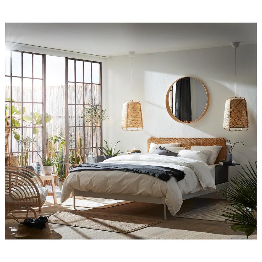 Delaktig Bed Frame Headboard 2 Side Tables Aluminum Rattan Ikea In 2020 Ikea Bed Frames Bed Frame And Headboard Bed Frame