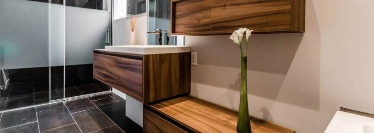 Meuble bas de salle de bain blanc et gris commode de ...