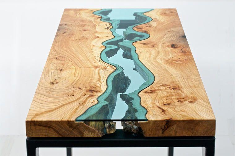 holztische mit integrierten glasflüssen - ungewöhnliche aber, Esszimmer dekoo