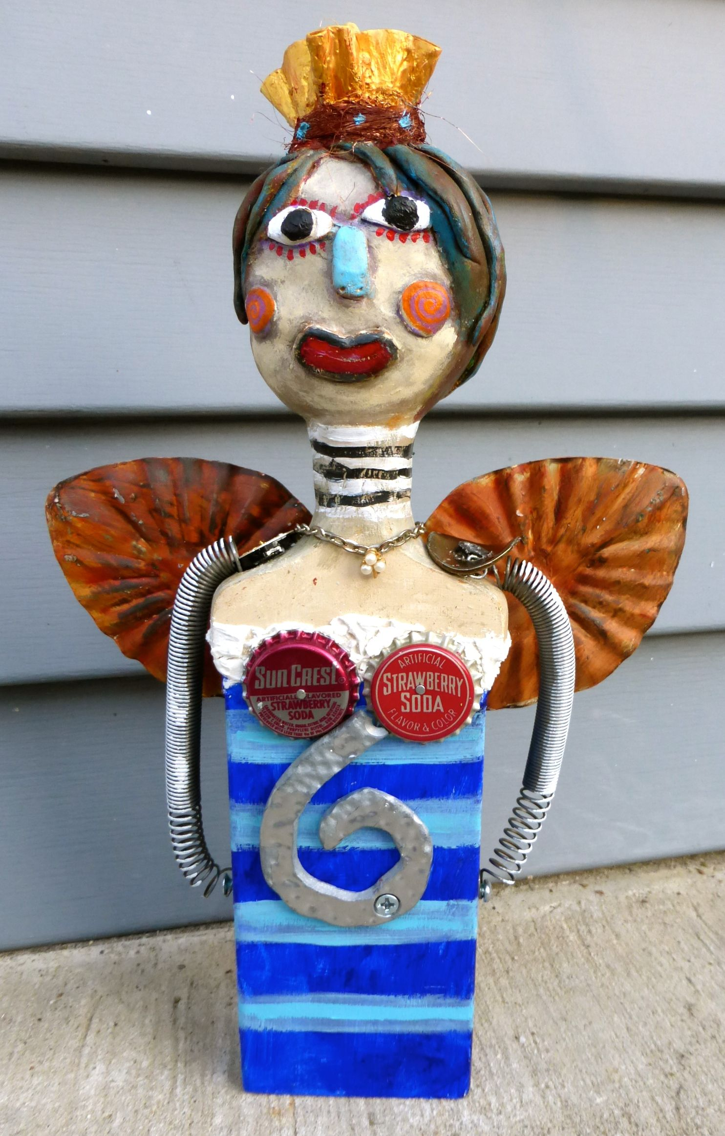 """""""Happy Angel Queen"""" air dry clay/mixed media original by"""