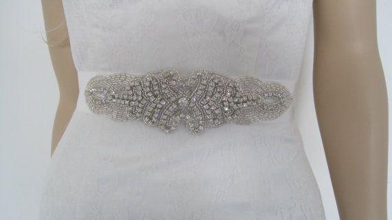 Beaded  wedding bridal sash belt rhinestone  by Diamondweddingveil, $79.00
