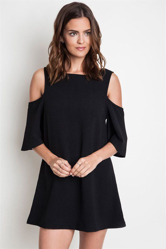 Black Open Shoulder Shift Dress – elle & k boutique