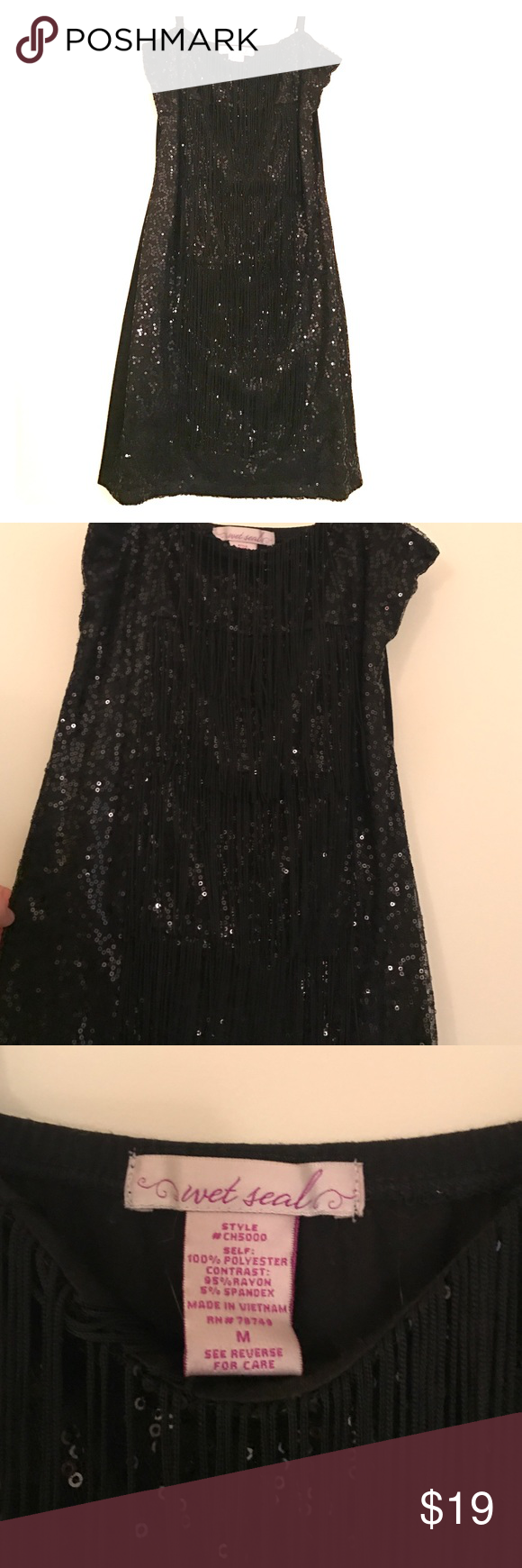Wet Seal little black dress A closet essential- sexy and sparkly Wet Seal mini dress with fringe. Absolutely adorable, worn once! Size Medium. Wet Seal Dresses Mini