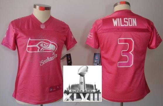 Women Nike Seattle Seahawks 3 Russell Wilson Pink FEM FAN Elite 2014 Super  Bowl XLVIII NFL Jerseys 62a9328f8