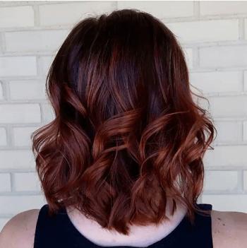 Model With Dark Brown Hair And Auburn Balayage Hair Pinterest