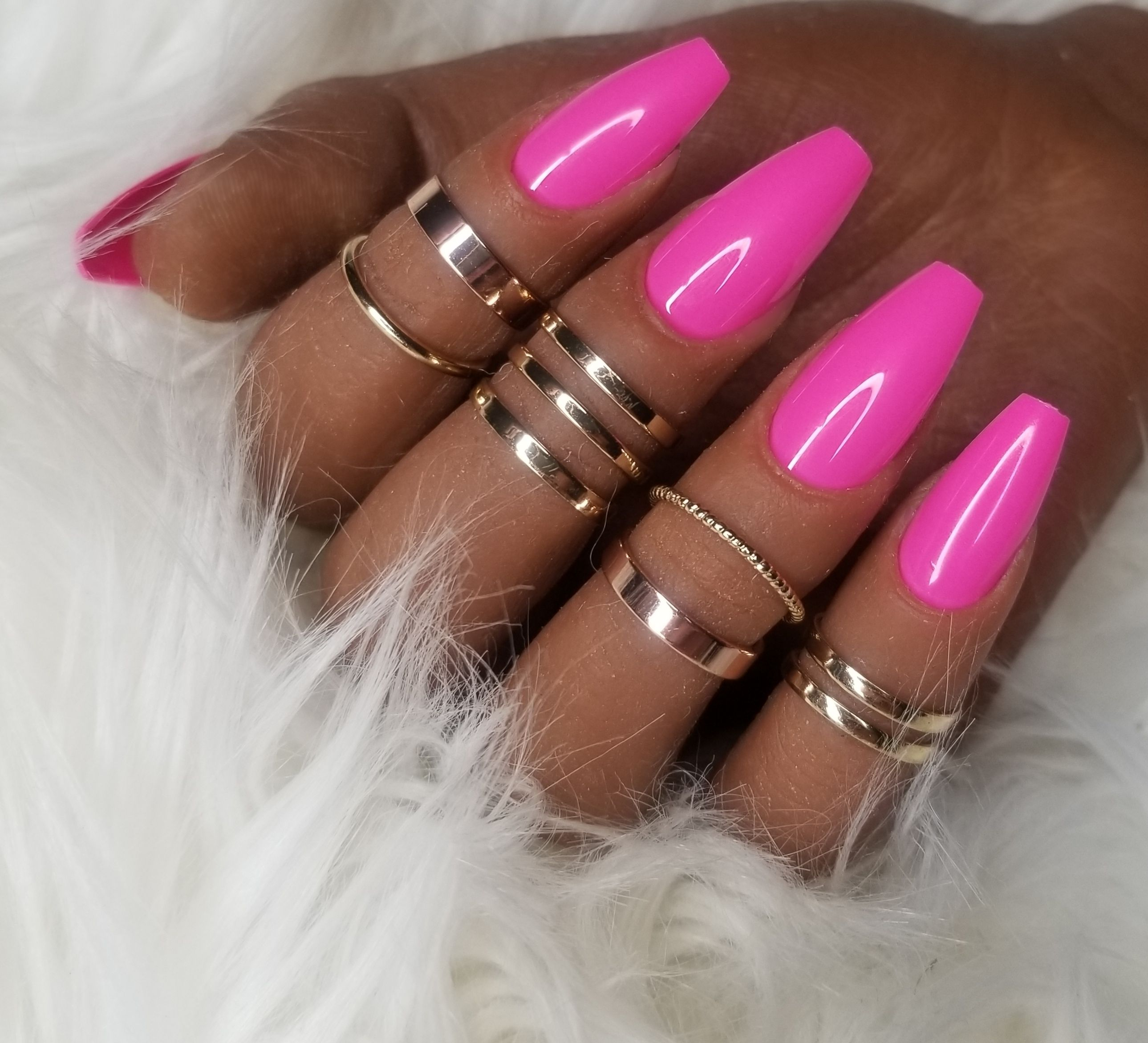 Pink! Coffin! Press-on Nails! Ready to wear!