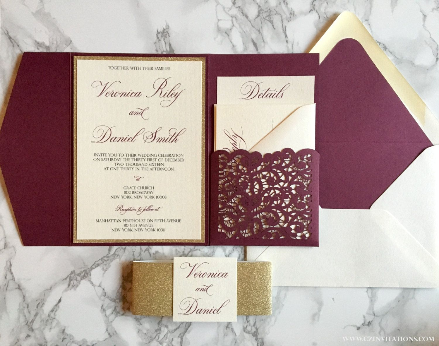Photo Pocket Wedding Invitations: Laser Cut Pocket Wedding Invitation Burgundy And Gold