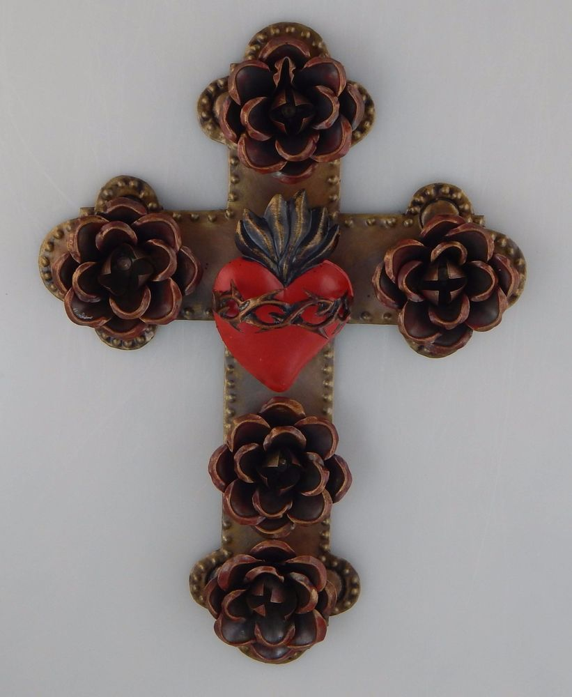 Cross Wall Hanging mexican folk art punched tin cross wall hanging flower sacred