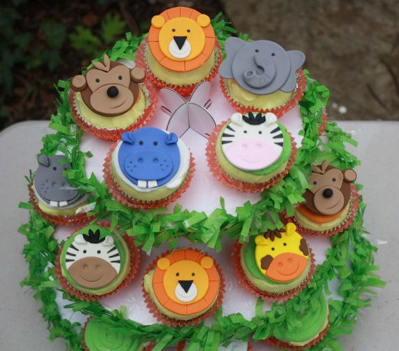Noahs Ark and jungle animals cupcake toppers.