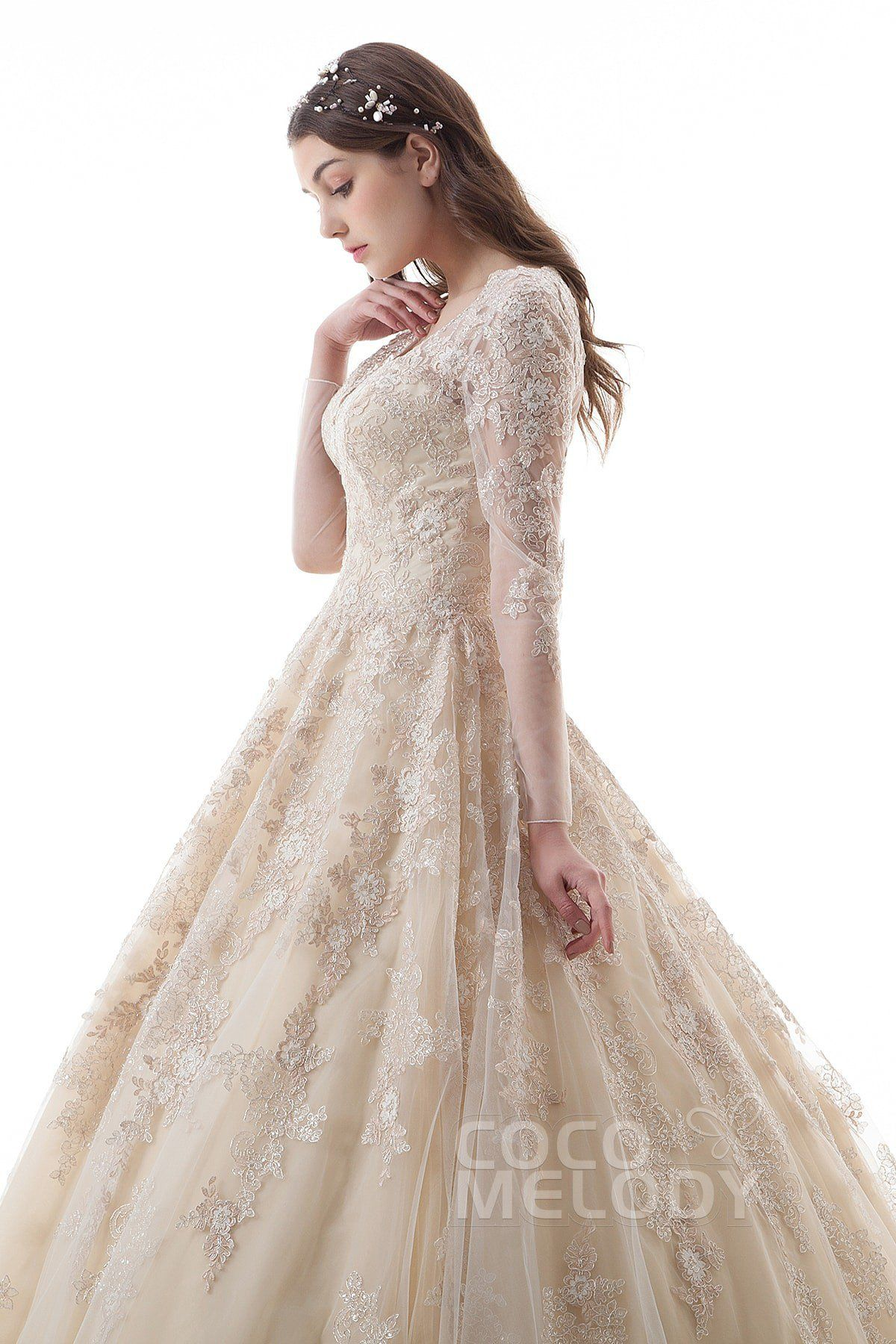 Luxurious princess vneck natural court train lace and tulle long