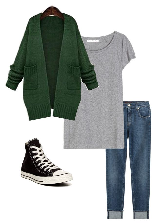 """""""Capsule wardrobe outfit 1"""" by megganb1983 on Polyvore featuring 7 For All Mankind, Acne Studios, Jiuni and Converse"""