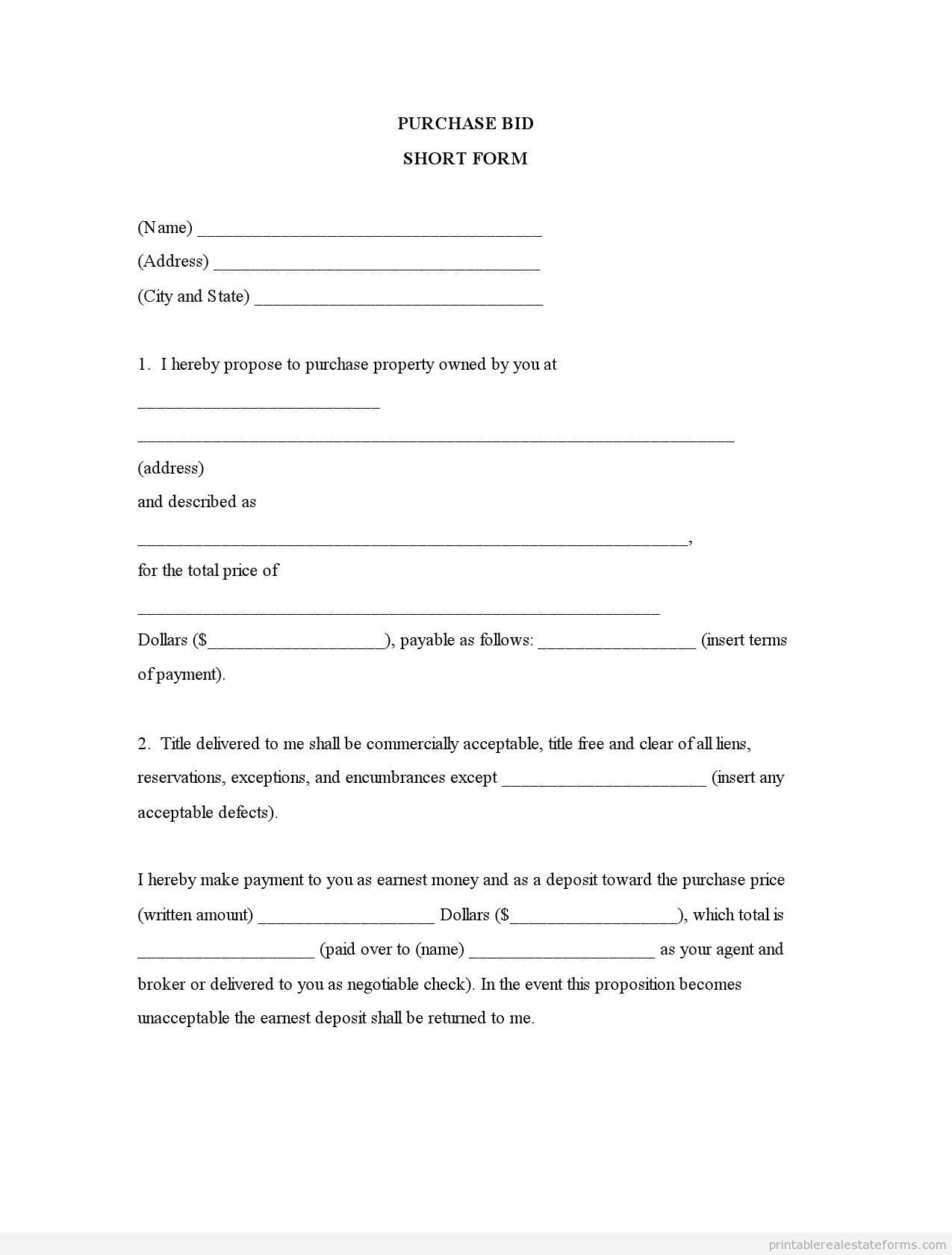 Sample Printable Purchase Bid Short Form Form  Printable Real