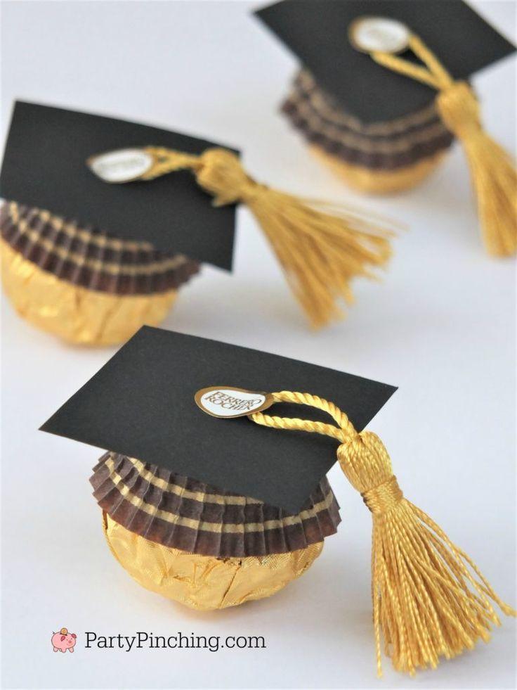 Photo of Ferrero Rocher Candy Abschlusskappen, Sweet Candy Abschlussbevorzugungen, DIY Grad Fav …