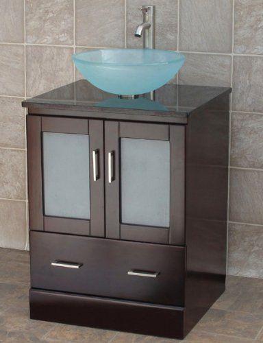 24 Bathroom Vanity Solid Wood Cabinet Black Granite Top Vessel